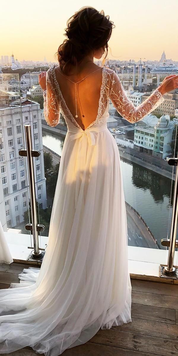 greek wedding dresses a line with illusion long sleeves v back ideal moscow #lon…