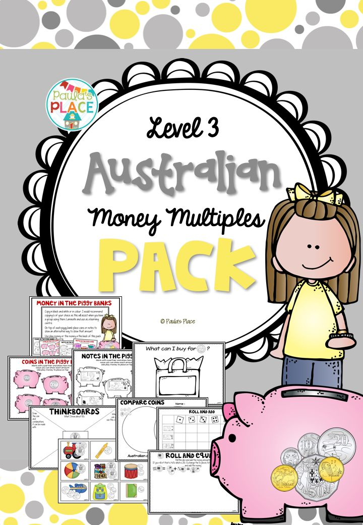 Money multiples for Australian notes and coins.