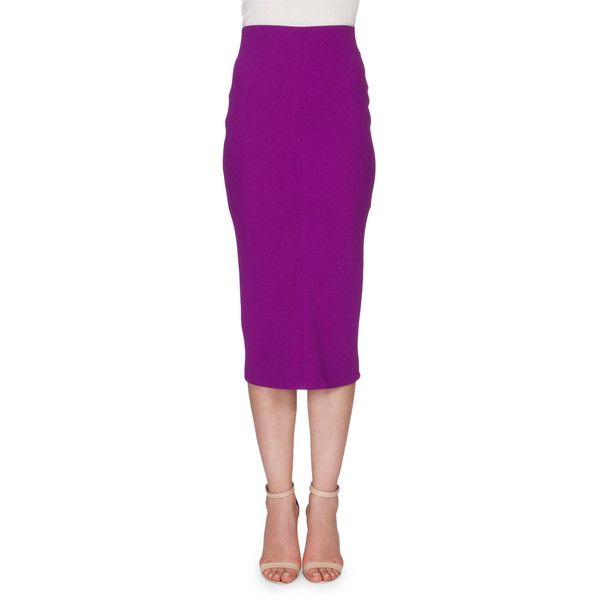 Victoria Beckham High-Waist Midi Pencil Skirt ($1,365) ❤ liked on Polyvore featuring skirts, plum, high-waisted midi skirts, mid calf pencil skirt, purple skirt, high waisted skirts and knee length pencil skirt