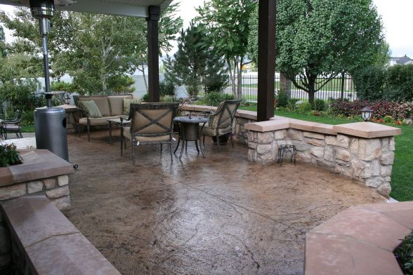 Outdoor Covered Patio, Covered Stamped Concrete Patio With Surrounding Rock  Wall   Patio Door Is About 3 1/2 Feet Off The Ground. We Had A Deck Thu2026