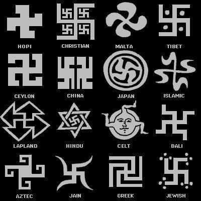 """SWASTIKA - Contrary to wide held belief, the """"Nazi"""" symbol was not an original design. The image was stolen from India. Though the symbol itself - (or variations of it) - can be found in all Ancient cultures around the world.     The word """"Swastika"""" came from the Sanskrit word """"Suastika"""". It means among many other things, some of which are, good luck, well being, peace, eternity and so forth.     It is still widely used in India today. Specifically in Hinduism, Buddhism and Jainism."""