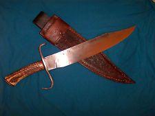 LARGE HAND FORGED BOWIE KNIFE ,5/16 -- 5160 SPRING STEEL,ELK  ANTLER HDL.,SHEATH