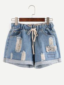 Shorts rotos cintura con cordón denim -azul