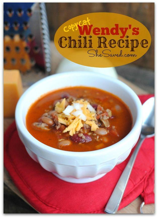 Copycat Recipe! Wendy's Chili Recipe