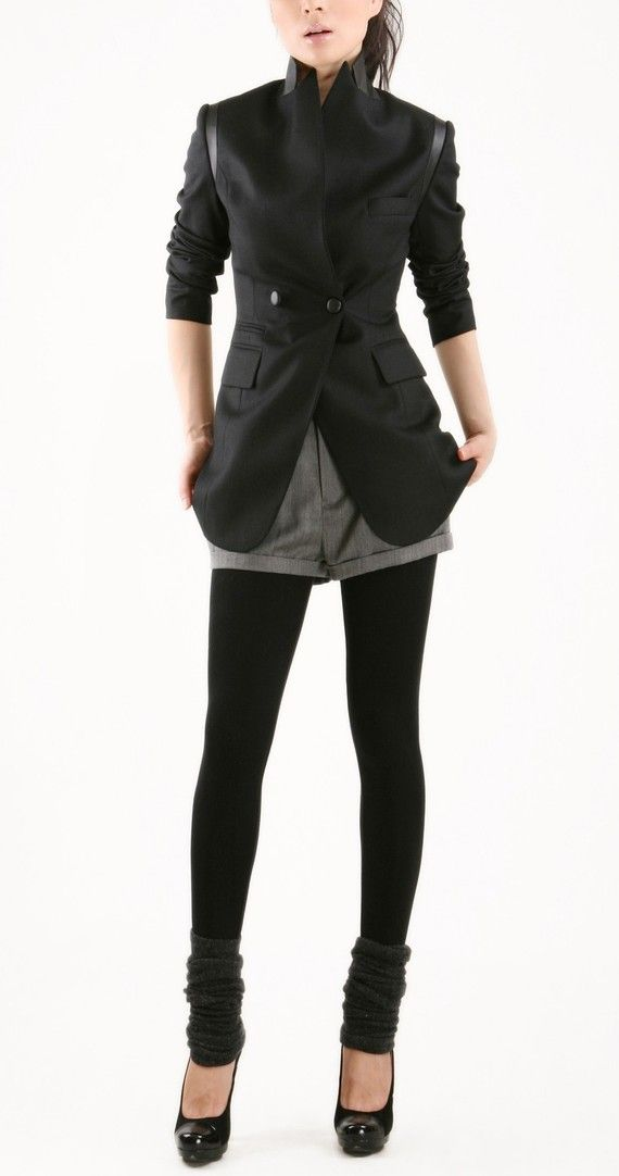 Classic black jacket with leather by EllaLai on Etsy, $126.00. Want.