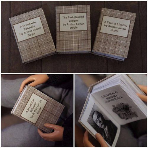 1/6 scale books. Each book contains the full text of a short story about Sherlock Holmes.