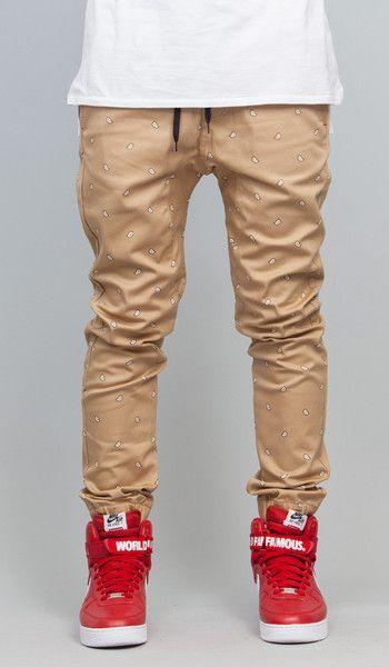 Khaki Paisley  Drop Crotch Jogger