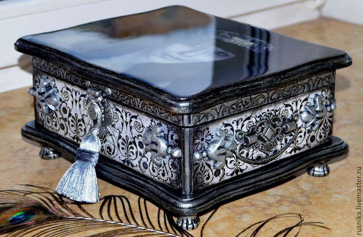 Купить Шкатулка ЛАРЕЦ ДЛЯ КОРОЛЕВЫ - серебряный, шкатулка для украшений, ларец, подарок женщине, русника