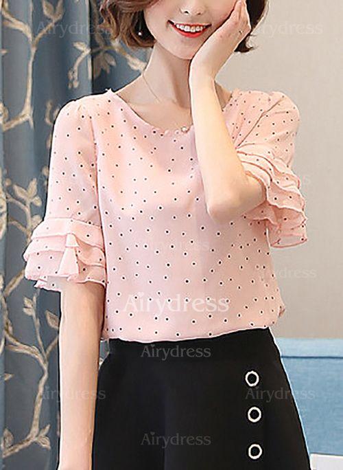 Lunares Casuales Poliéster Cuello redondo Manga corta Camisas (1047009) @