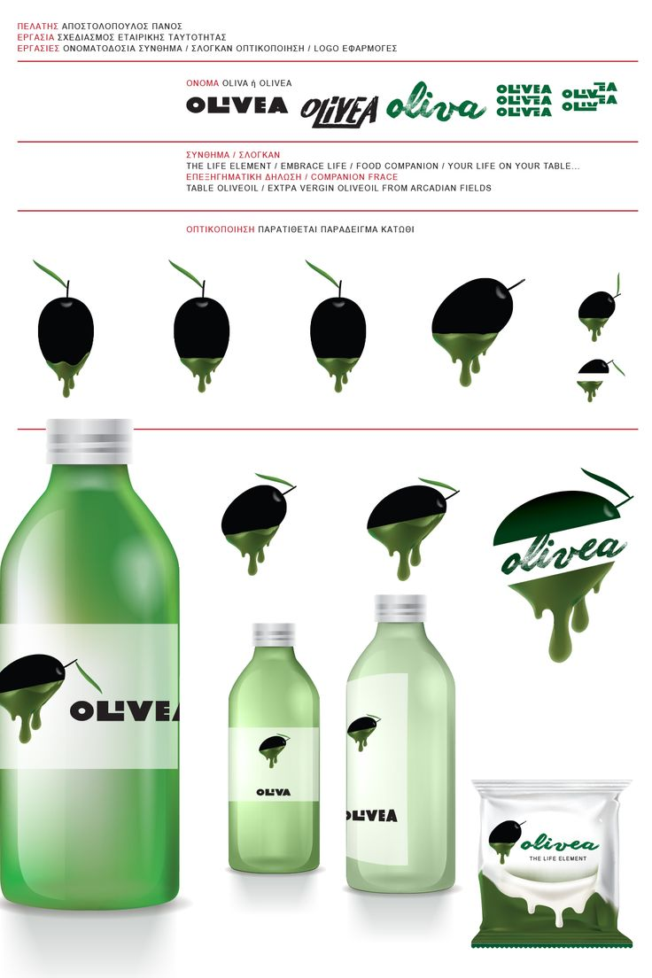 OLIVEA, The Life Element, Olive production Co., Tripolis, Arcadia, Greece, Logo Design by HK