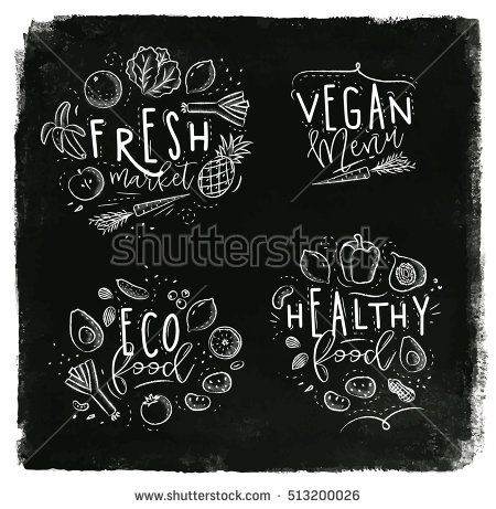 Labels eco style decorated by fruits and vegetables lettering fresh market, vegan menu, eco food, healthy food drawing with chalk on chalkboard background