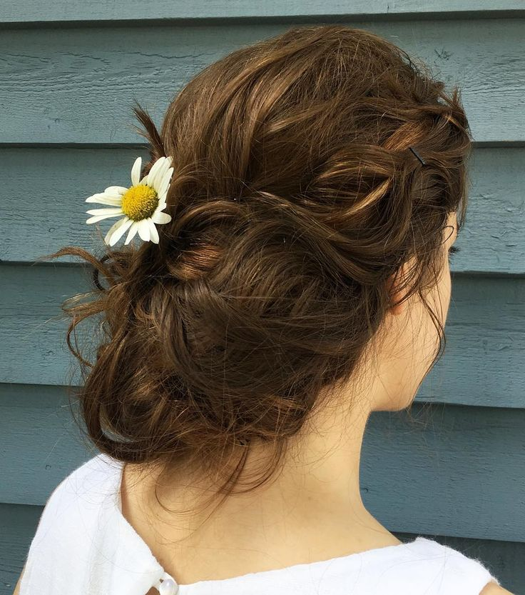 A curly side updo with a daisy for today! #hair#hairstyles, #curly #daisy #hairstyles #today,'#fashionhair #hairstylist #longhair #hairs #curly #hairs…