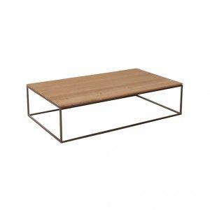Salontafel Thin 120x70x30cm eiken blad/RVS frame 360€
