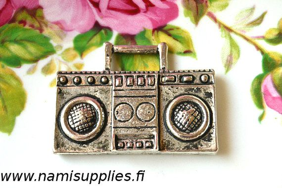 Big Boombox Charms - Antique Silver Color Radio Cassette Pendants 6pcs - 41x31 mm - Nickel Free