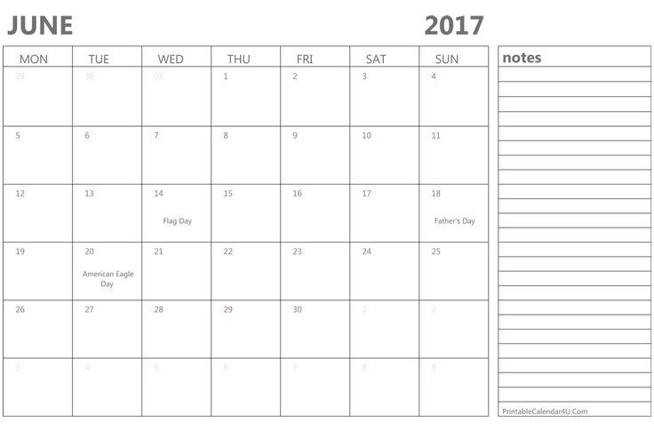 June 2017 Calendar USA Holidays