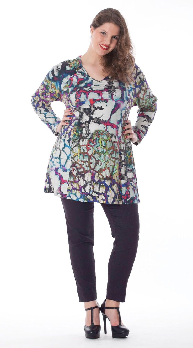 Exelle | curvy fashion | Fashionable printed A-line shirt with wrinkle elastic on the shoulder, also in uni colour