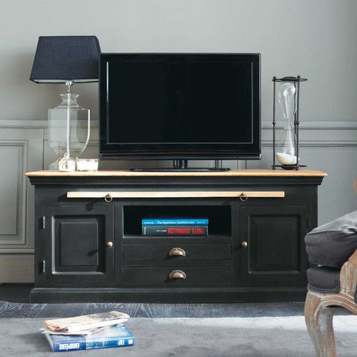 Meuble tv en manguier noir l 140 cm chinon tvs for Meuble zinc maison du monde
