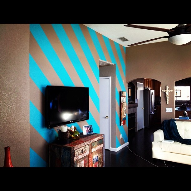 Slate Blue Diagonal Stripe Accent Wall: Painted Diagonal Stripes On My Living Room Wall. They Were