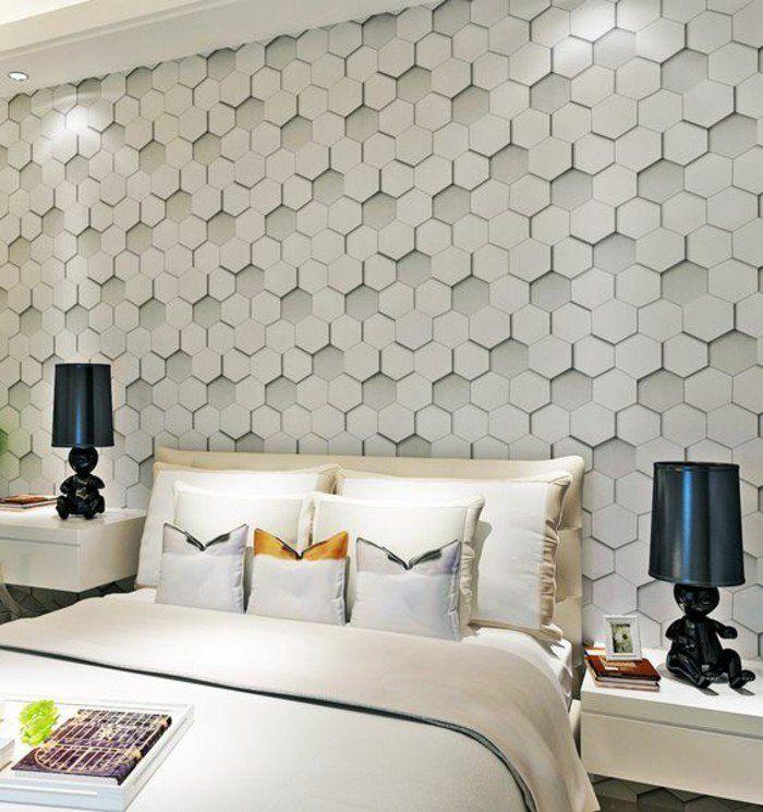 tapisserie 3d géométrique effet 3d chambre à coucher en couleurs naturelles