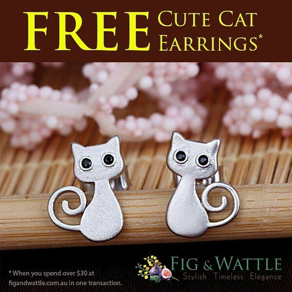 🐱 How cute are these cat earrings? 🐱 You can get them for FREE at www.figandwattle.com.au all you have to do is spend $30.00 or more in one transaction 👍and these cute cat earrings are yours free of charge ❤️ BUT hurry as stocks are limited. http://ow.ly/x9Sa30eDBgK  #cat #kitten #kitty #kittycat #toocute #free #freegift #figandwattle #welovecats #meow #animalrescue #catsforever #pet #pets