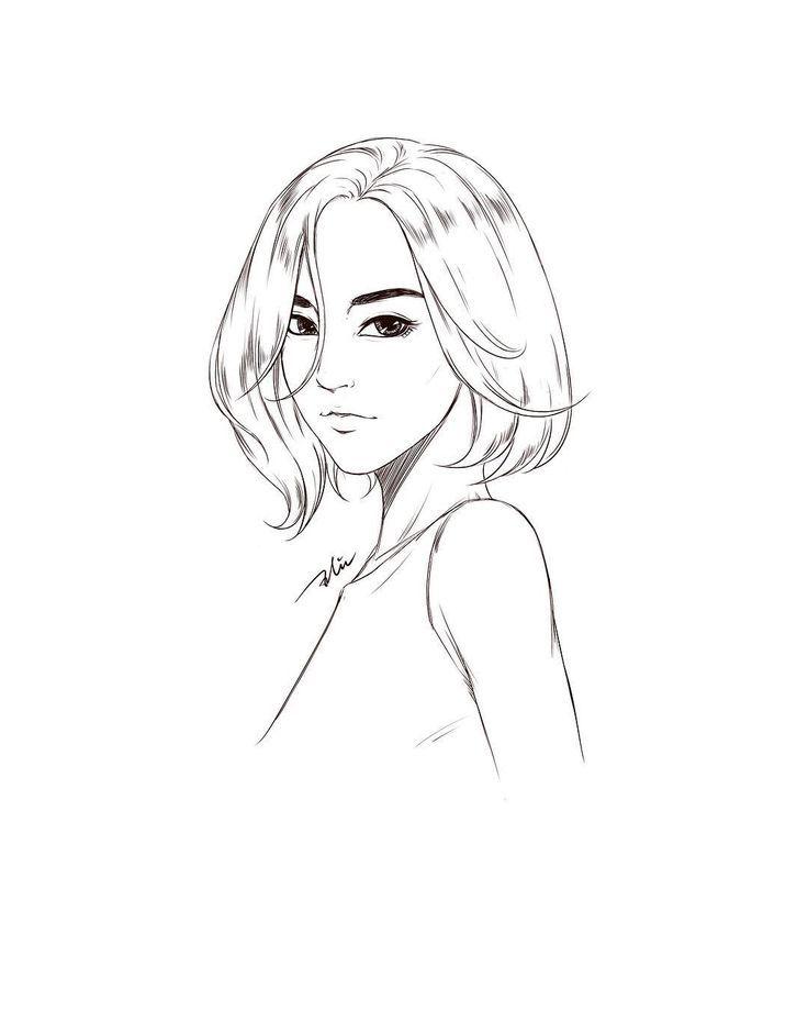 Short Hair Line Art Drawing Draw Art Artist Lineart Line Line Art Art Short Hair Styles