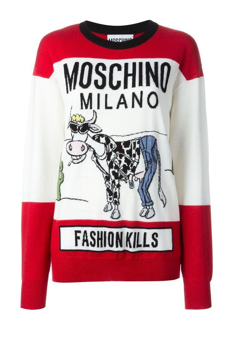 Moschino Fashion Kills Smoking Cow Cigarettes Virgin Wool Long Sleeve Jumper Sweashirt Women's Sweater