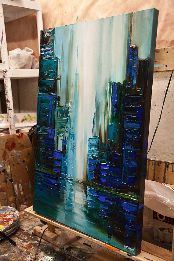 Teal Green City Painting Original Modern Acrylic by OsnatFineArt