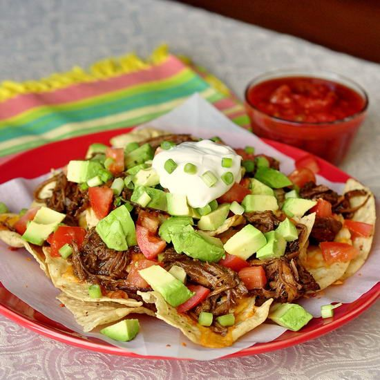 Apple Barbeque Pulled Pork Nachos from Rock Recipes