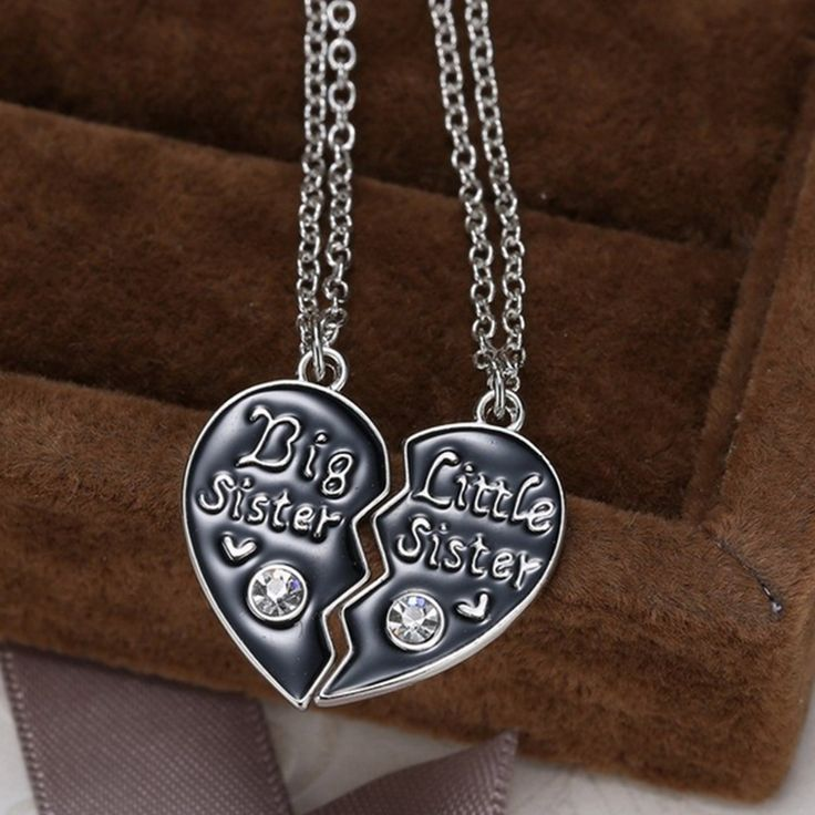 Unique Personalized Gift For Family Big Sister Little Sister Couple Necklaces Gifts Handstamped Jewelry Broken Heart Necklaces #Affiliate