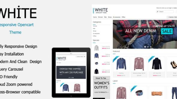 White Simple And Responsive Creative #OpenCart Premium Template #ResponsiveDesign #html5 #ccs3