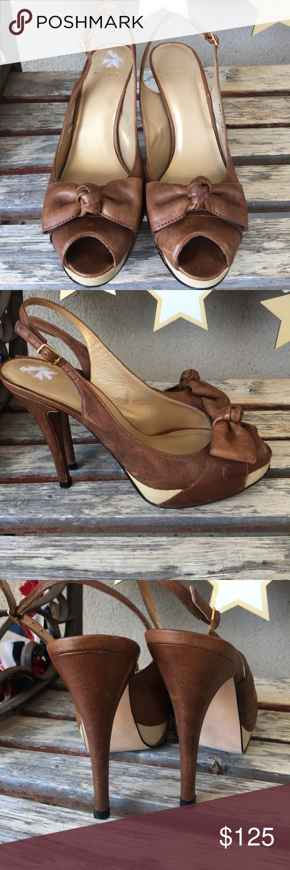 Stuart Weitzman brown bow heels size 8 Stuart Weitzman brown distressed leather bow heels size 8. Some scuffs on leather.  Leather soles. No box Stuart Weitzman Shoes Heels