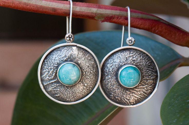 Ασημένια σκουλαρίκια κύκλοι με πέτρα
