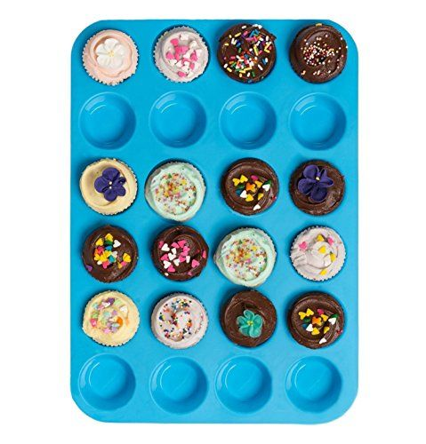 Bessmate Silicone Muffin Pan -24 Cups Blue Mold & Baking Tray- Reusable Non-Stick Bakeware For Cupcakes and Cakes Dishwasher /Microwave Safe