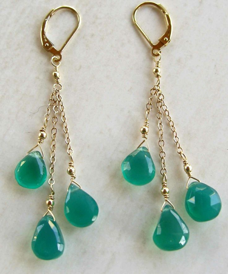 Edisto Earrings with Green Onyx Handmade Gold