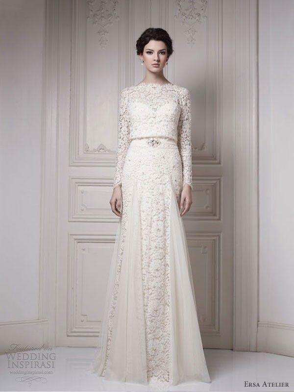 Saia Feminino Pnina Tornai Wedding Dress Vintage Long Sleeve Plus Size Wedding Gowns Vestido Renda 2014