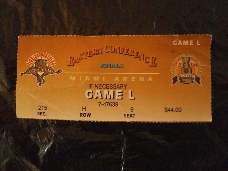 NHL Florida Panthers Pittsburgh Penguins East. Conf Finals Game Ticket Stub 1996 #FloridaPanthers