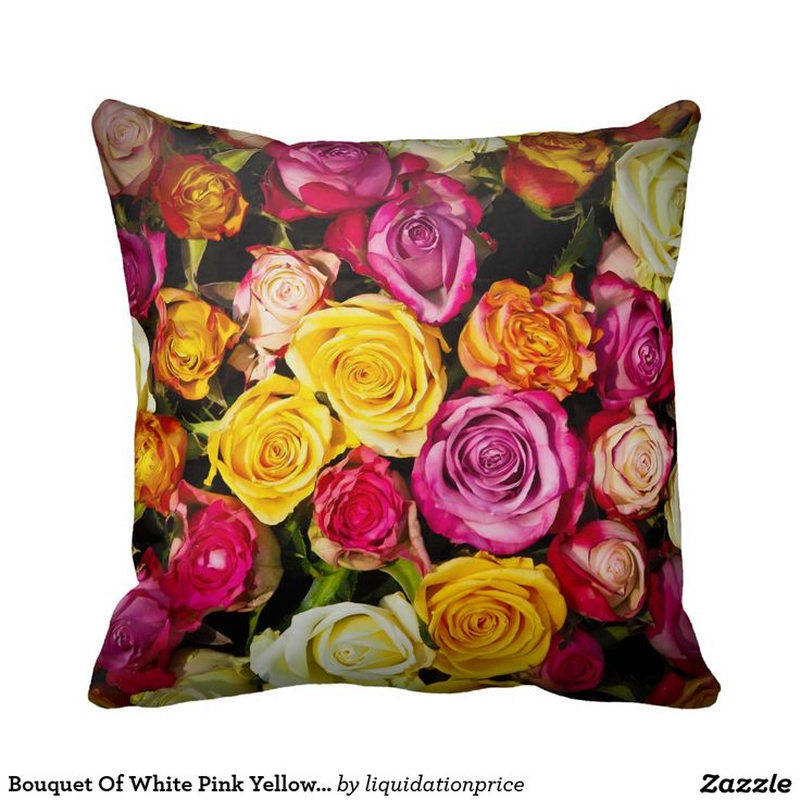 Bouquet Of White Pink Yellow Roses Flowers Pillow