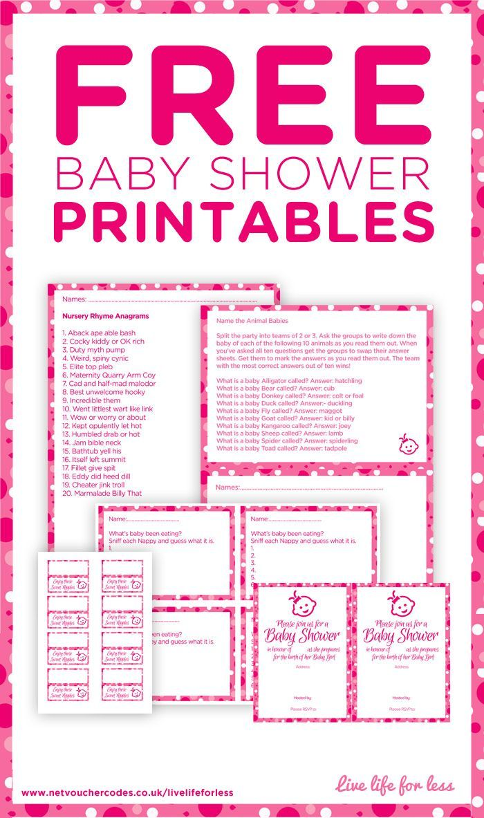 Baby Shower Fun And Games - Live life for less. Free Baby Shower Printables in Pink.... Was looking for these! A little late, but better save these for future reference!