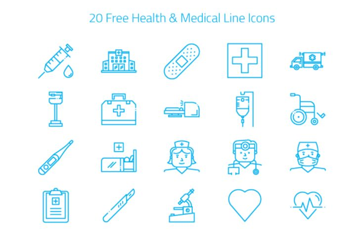 Free 20 Linear Doctor Icon Set  /Volumes/Marketing/_MOM/Design Freebies/Free Design Resources/medical_icons_freebie