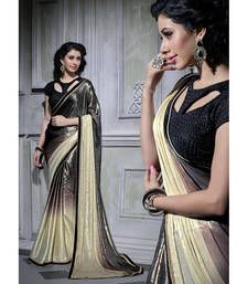 Buy multicolor plain georgette saree with blouse shimmer-saree online