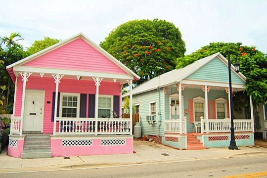 These are conch houses.  Same trim but different colors