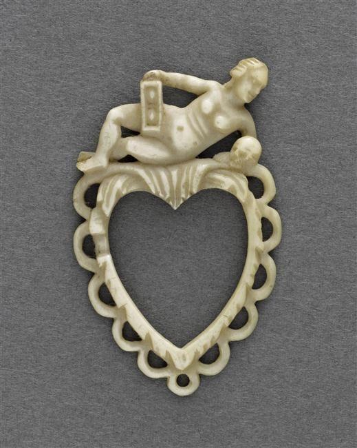 | Cadre en forme de coeur : figure de femme avec crâne et sablier | Images d'Art