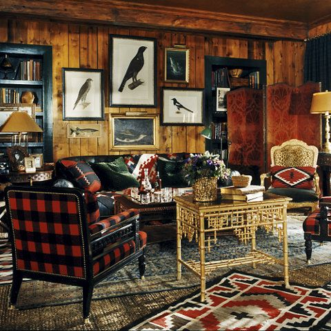 "Ralph Lauren Home Archives, ""Indian Cove Lodge"" Living Room, Fall 2009  ""Inspired by the beauty of the Great Adirondack Camps, this collection captures an eclectic spirit, layering a mix of the rustic and redined with chic accents of gilded luxury."""