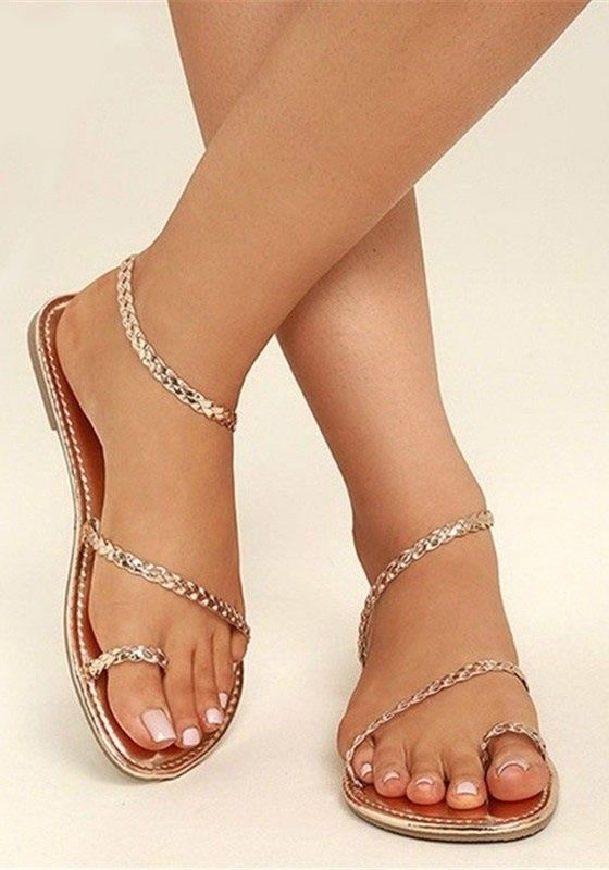 8d0a7bfd1 Golden Round Toe Flat Casual Ankle Sandals Zapatos Sexys, Diferentes  Estilos, Sandalia, Calzas