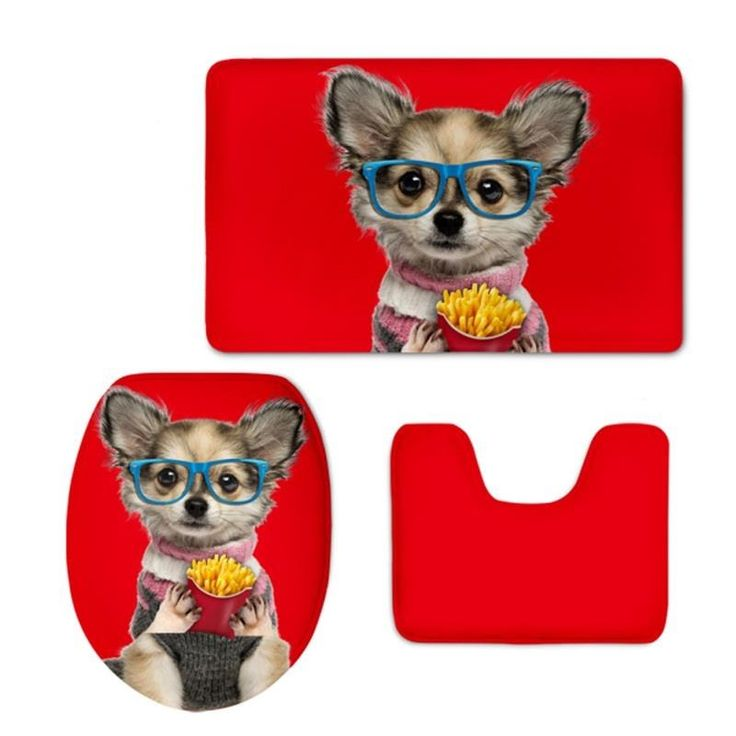 Red Background with Dog Printed Flannel PVC Soft Water-Absorption Anti-slid Toilet Seat Covers