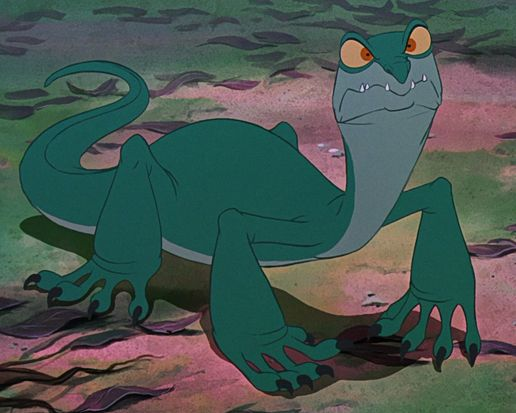 Joanna is Percival McLeach's pet monitor lizard and the secondary antagonist of The Rescuers Down Under. In the movie, when Cody gets caught in one of McLeach's traps, McLeach and Joanna show up thinking they've caught an animal, but when McLeach sees that it's Cody, he tries to blame it all on Joanna, saying that she's buried a big hole in the ground. While McLeach helps Cody out of the hole, Joanna spots a mouse in Cody's backpack and jumps on Cody and causes McLeach to fall in the hole.