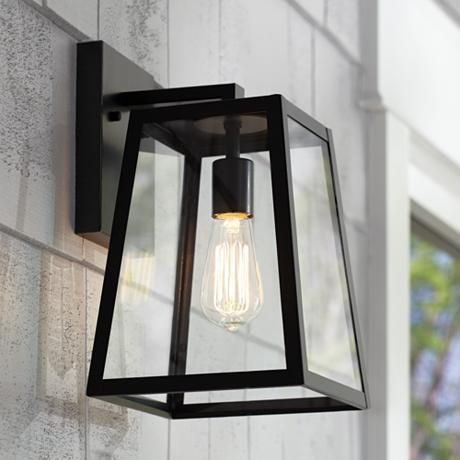 "Arrington 13"" High Mystic Black Outdoor Wall Light; 1 60W bulb"