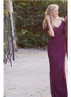 Slinky Straps Grape Cap Sleeves long Bridesmaid Dress with Ruffles
