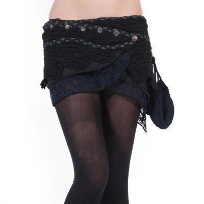 Wikkel mini rok met kant en tasje zwart - Hippie Elf Fantasy - One size - Gekko