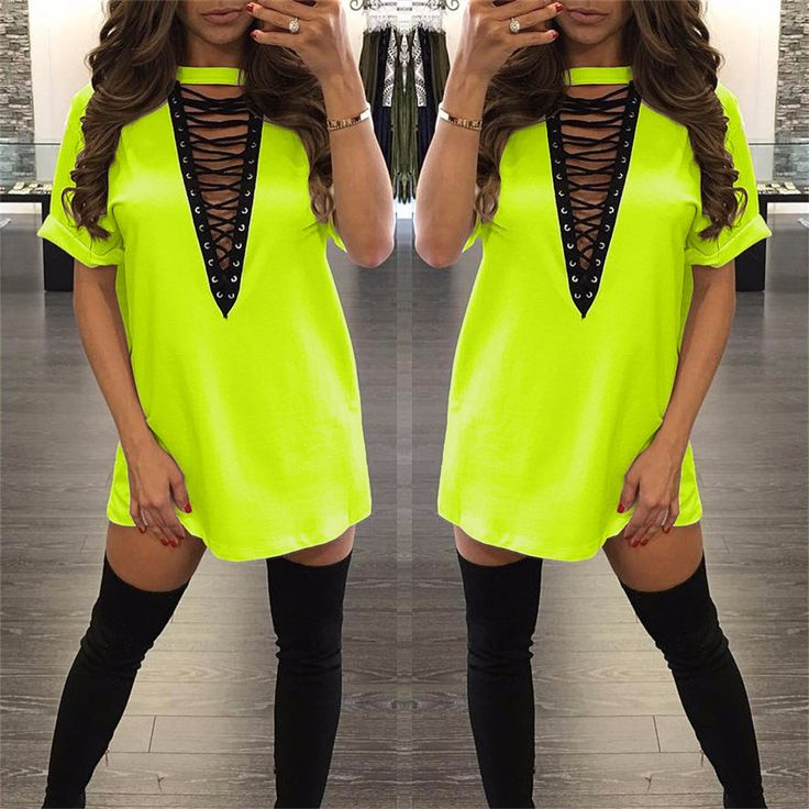 Neon green Women's summer fashion sexy deep v neck choker Outfits dress for women lady loose bodycon dresses vestidos 32